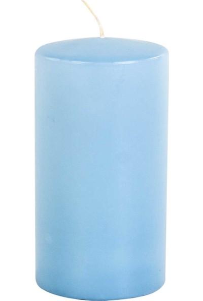 Euro Flora Açık Mavi Kütük Mum (Eısblau) 8X15 Cm