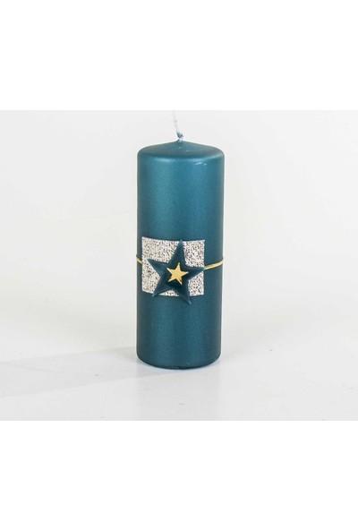 Euro Flora Yıldızlı Mavi Kütük Mum Vaıana (Petrol Gold 329G) 6X15 Cm