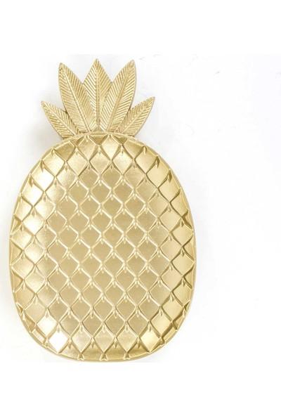 Euro Flora Dekoratif Ahşap Ananas Tabak (Dore) 35X21X3 Cm