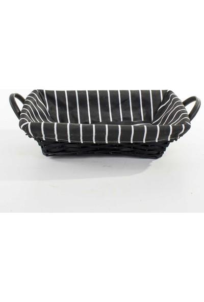 Euro Flora İç Kısmı Kumaşlı Siyah Dikdörtgen Hasır Sepet 34X24X10 Cm