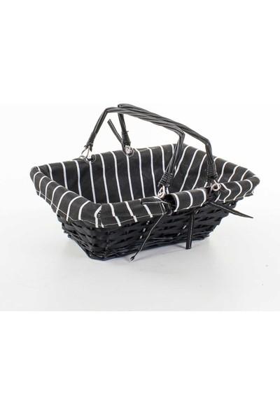 Euro Flora İç Kısmı Kumaşlı Dikdörtgen Hasır Sepet 34X23X13 Cm