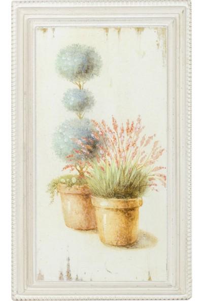 """Euro Flora Dekoratif Ahşap Tablo """"saksı/çiçek"""" 21X36X3 Cm"""