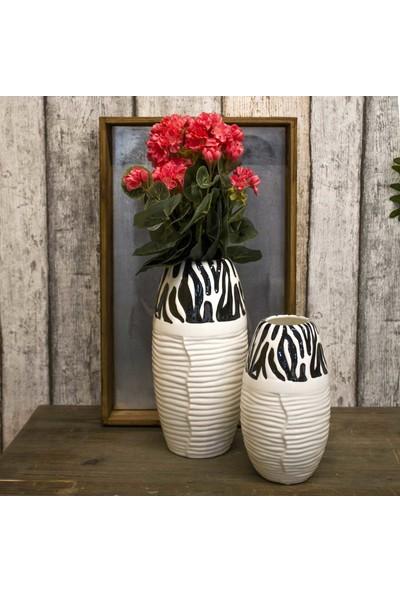 Euro Flora Siyah Dalgalı Beyaz Seramik Vazo 12X22 Cm