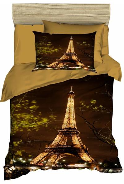 Özinci 3D Parisli Yatak Eiffel Kulesi Temalı Tek Kişilik Nevresim Takımı