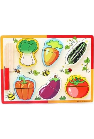 Enra Ahşap 14 Parça Sebze ve Meyve Kesme Oyunu Algı ve Zeka Geliştirici