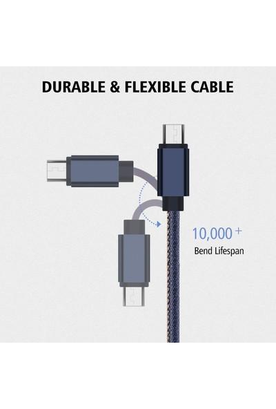 Tonmeister MAKT Blue Jean 2.1A Hızlı Data ve Şarj Kablosu İphone 1M