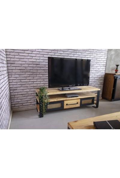 Deryawood Masif Ahşap Demir Çekmeceli Tv Ünitesi 45 x 120 cm