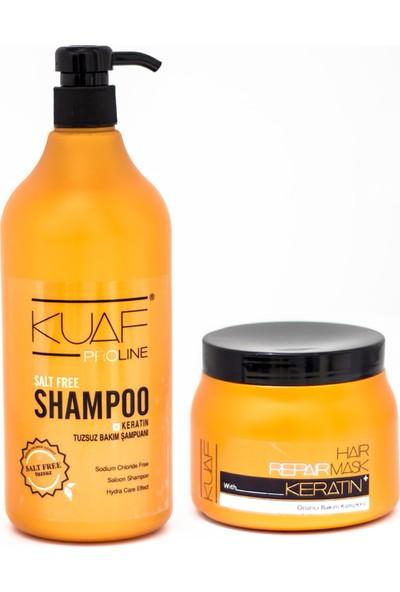 Kuaf Tuzsuz Şampuan 1 lt + Keratin Saç Maskesi 500 ml