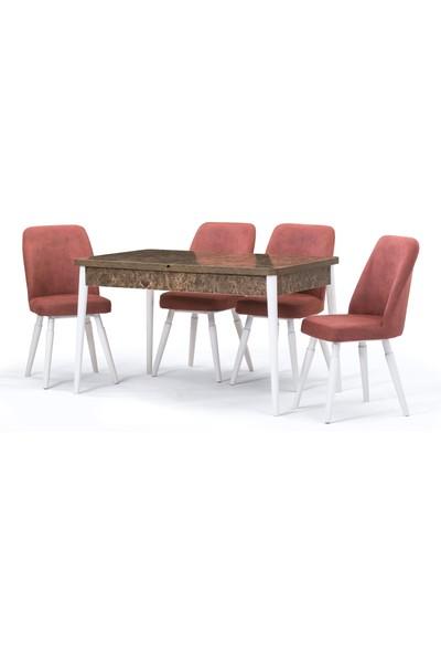 Özer Milas Krem Açılır Masa Sandalye Takımı
