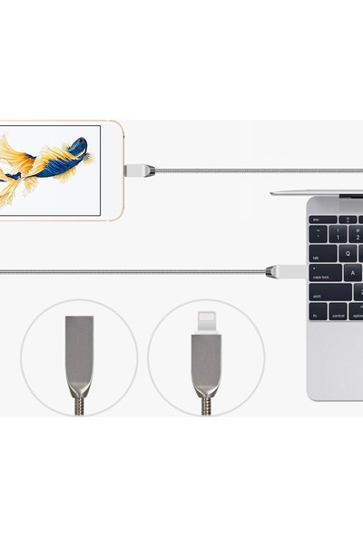 Tonmeister MAKT Zinc 2.1A Apple İphone USB Lightning Hızlı Data ve Şarj Kablosu