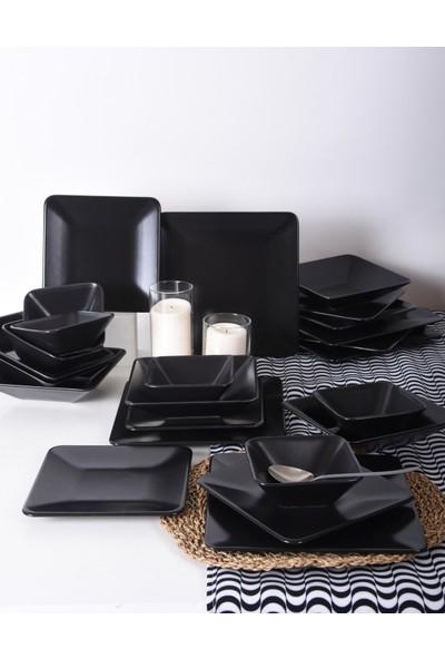 Keramika Siera Mat Siyah Kare Yemek Takımı 24 Parça 6 Kişilik