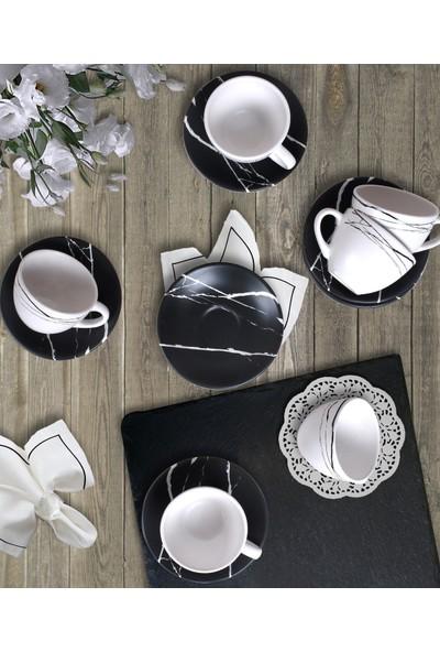 Keramika 12 Parça 6 Kişilik Çay Takımı Siyah -Beyaz Mermer 17950-17951