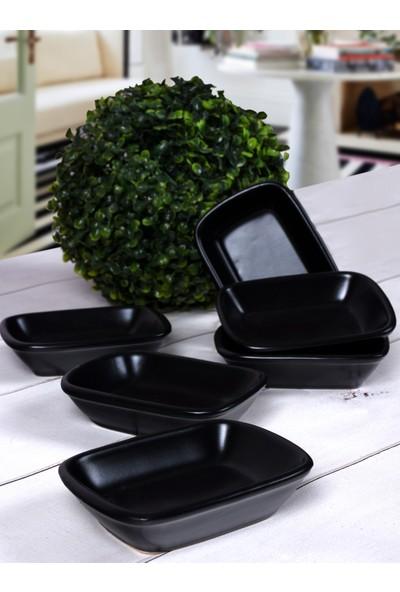 Keramika Mat Siyah Kayık Didörtgen 13 Cm 6 Adet