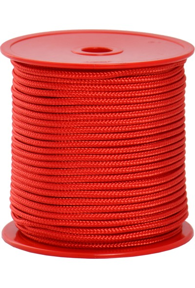 Globe 3,0 Mm Polyester Çok Amaçlı İp Halat - Kırmızı - 50 M. - Makaralı