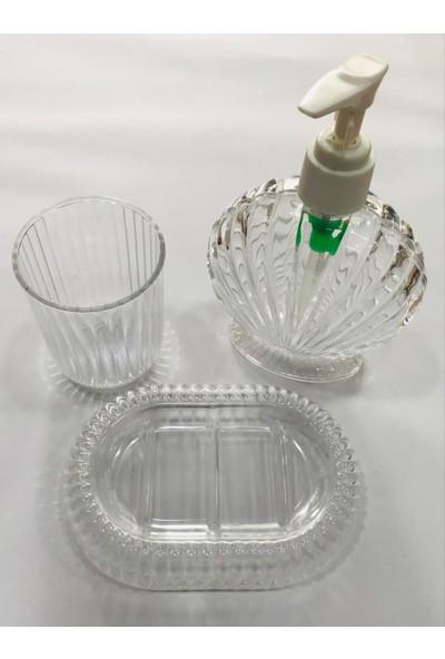 Krc 3 Lü Sabunluk Set Şeffaf