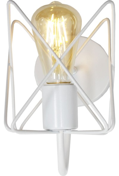 Taşcan Aydınlatma Yıldız Çarpık Zigzag Beyaz Camsız Modern Aplik-Yukarı Bakan