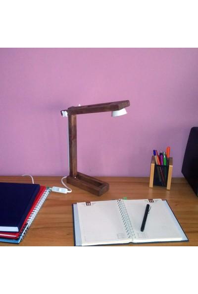 Zigzaguar Beyaz Seri Ceviz-Kahve Dekoratif Ahşap Çalışma Ve Okuma Masa Lambası, 5W Led, Gün Işığı