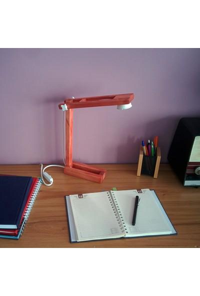 Zigzaguar Beyaz Seri Kırmızı Dekoratif Ahşap Çalışma Ve Okuma Masa Lambası, 5W Led, Gün Işığı