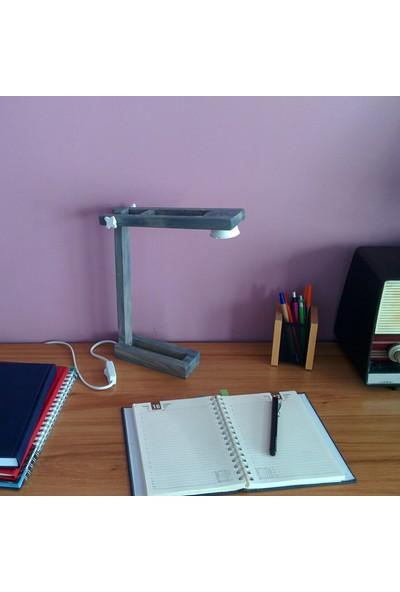 Zigzaguar Beyaz Seri Mavi Dekoratif Ahşap Çalışma Ve Okuma Masa Lambası, 5W Led, Gün Işığı