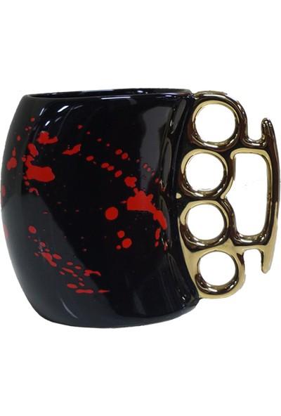 Mory Concept Muşta Kupa Bardak Siyah Kırmızı Desenli