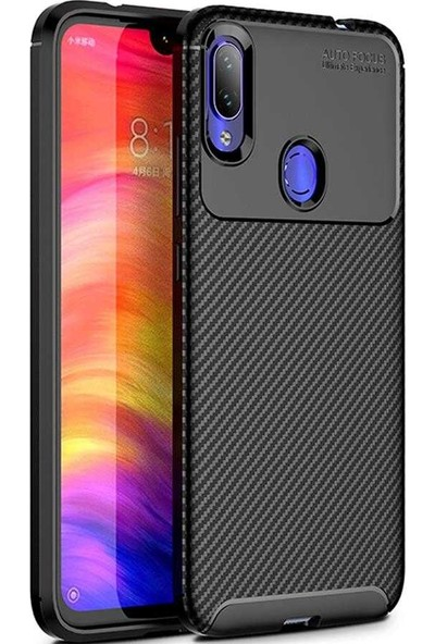 Case 4U Xiaomi Redmi Note 7 Kılıf Karbon Desenli Sert Silikon Arka Kapak - Negro Siyah
