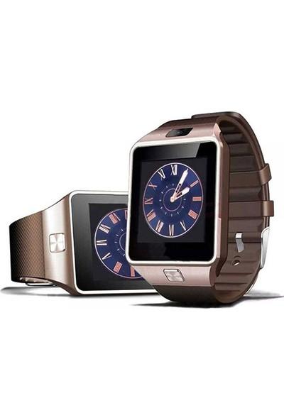 Case 4U Kameralı Akıllı Saat Kahverengi Samsung iPhone Sony LG HTC DZ09 (IOS ve Android Uyumlu)