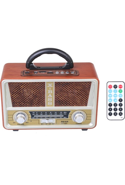 Meirer M 112Bt Dvs nostaljik Görünümlü Usb Sd Bluetooth Fm Am Sw Radyo