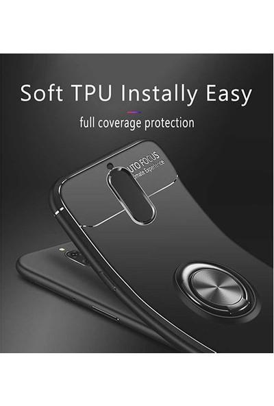 Case 4U Huawei Mate 10 Lite Kılıf Yüzüklü Darbeye Dayanıklı (Mıknatıslı Araç Tutucu Uyumlu) Lacivert