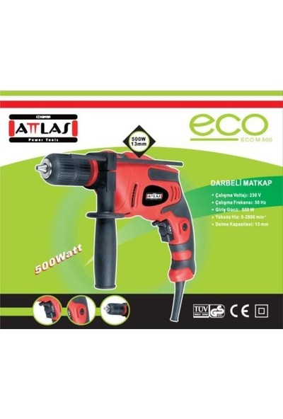 Attlas ECO M 500 13 mm Darbeli Matkap 500 W