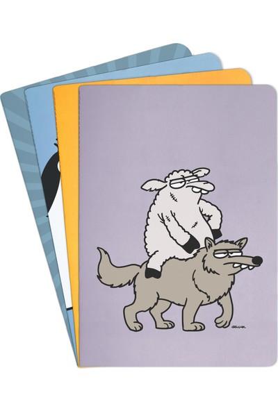 Penguen Selçuk Erdem Tasarımlı Koyun ve Kurt Defter Büyük Boy Çizgili