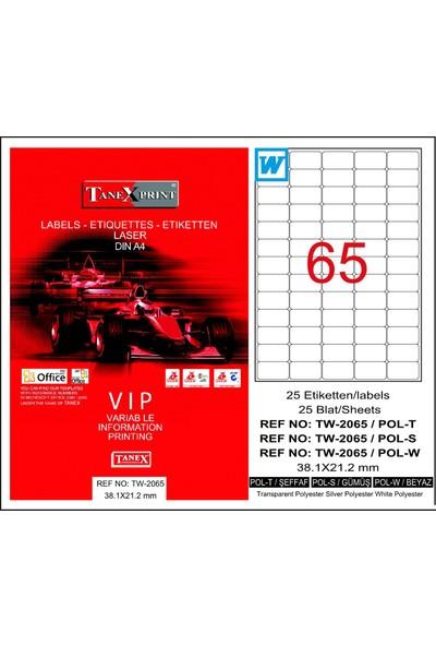Tanex TW-2065 38,1x21,2 mm Polyester Laser Etiket 25 Ad.