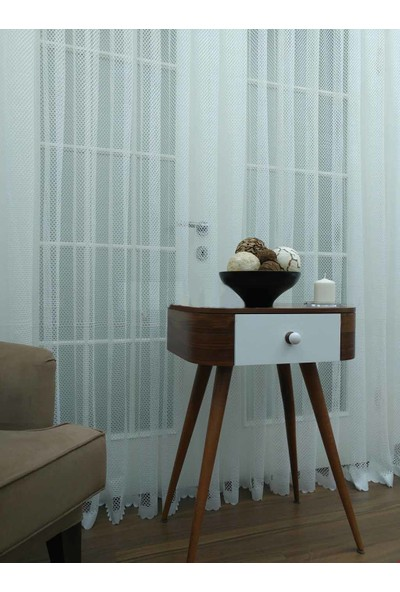 Caserta Home Lüx Avangart Beyaz Optik File Tül Perde - 50x100 cm