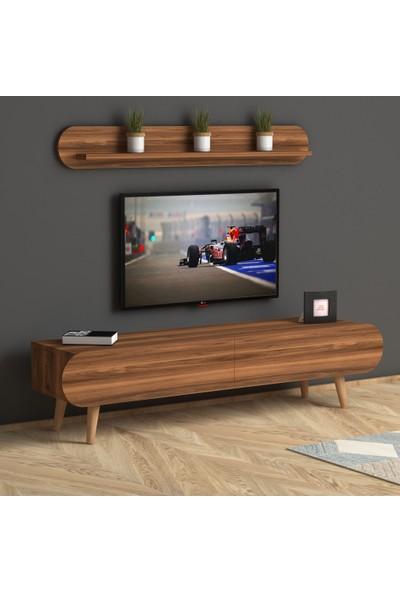 Monte Sehpa Lotus Raflı Tv Ünitesi- Ceviz