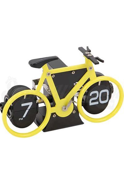 Bisiklet Tasarımlı Flip Hareketli Yaprak Saat