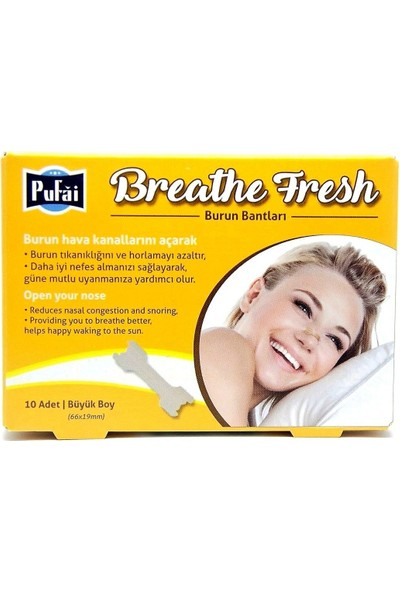 Pufai Breathe Fresh Burun Bandı Large Boy 66 mm 19 mm 10 Adet 1 Kutu