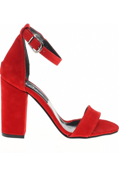 Derigo 19631 Kırmızı Süet Kadın Topuklu Ayakkabı