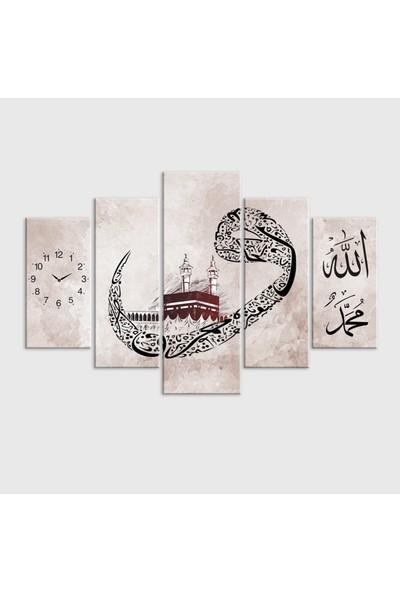 Meteor Galeri Allah Muhammed Yazılı Kabe Ve Saatli Kanvas Tablo