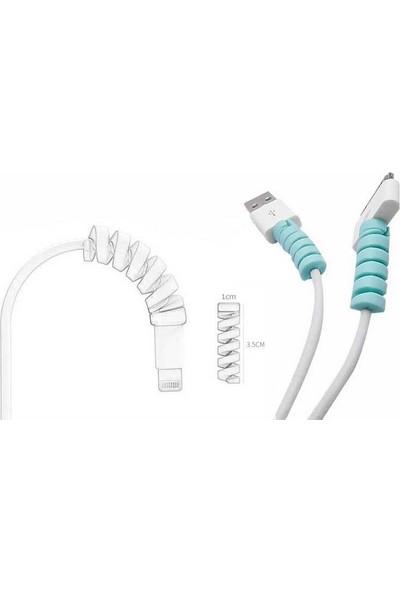 Crnada Micro USB - Type C - iPhone Kablo Spiral Kablo Koruyucu Mavi