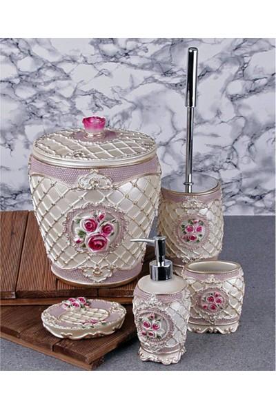 Oyam Hoby Polyester Güllü Banyo Seti