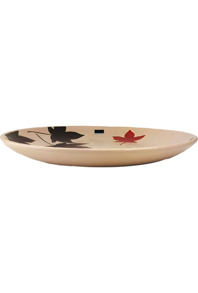 Alesta Home Pembe Yaprak Desenli Seramik Dekoratif Tabak 38cm
