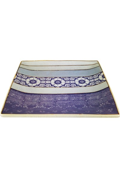 Alesta Home Mor Desenli Dekoratif Seramik Tabak 16x16cm