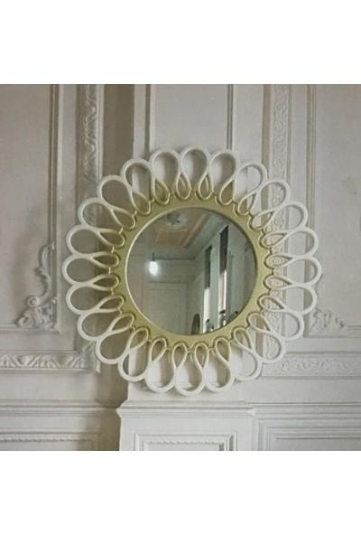 Öz-Kar Ahşap El Oyma Desenli Ayna Manolya Beyaz/Altın
