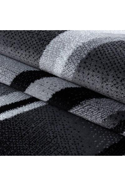 Ayyıldız Halı Modern Desenli Halı Geometrik Dalgalı Ve Çizgili Tasarım Siyah Gri Beyaz 80X150 Cm