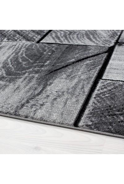 Ayyıldız Halı Modern Desenli Halı Kareli Ağaç Gövdesi Tasarımlı Siyah Gri Beyaz Taramalı 80X150 Cm
