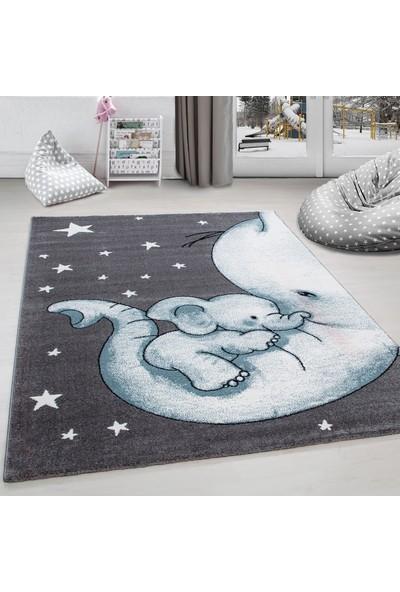 Ayyıldız Halı Çocuk Halısı Fil Ve Yıldız Desenli Gri-Mavi-Beyaz 80X150 Cm