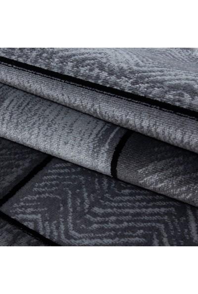 Ayyıldız Halı Modern Desenli Halı Taş Duvar Tasarımlı Siyah Gri 80X150 Cm