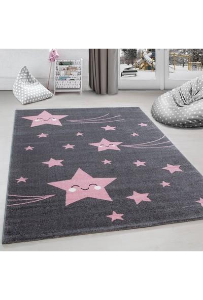 Ayyıldız Halı Çocuk Halısı Sevimli Yıldız Desenli Gri Pembe 120X170 Cm