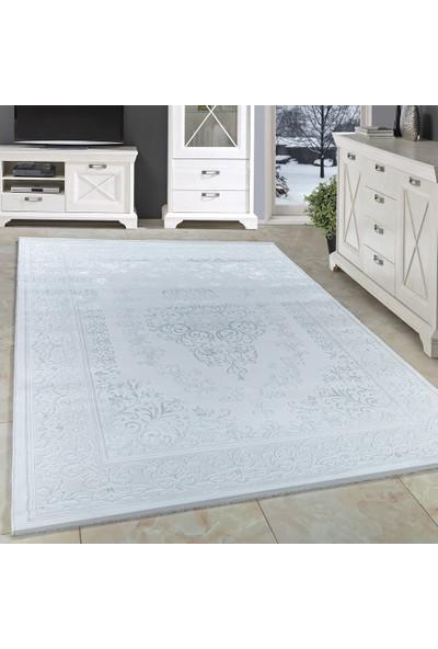Carpettex Halı Akrilik Halı Barok Desenli Çökmeli Beyaz Ve Gri Renklerde 80X150 Cm