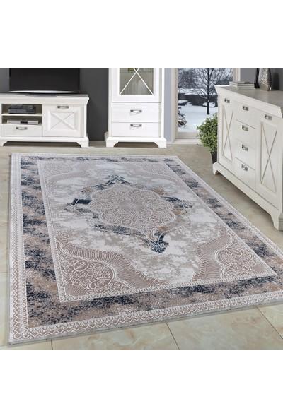Carpettex Halı Akrilik Halı Klasik Desenli Mermer Tarma Çökmeli Mavi Bej Krem Renkli 80X150 Cm