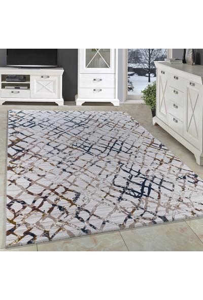 Carpettex Halı Akrilik Halı Geometrik Çizgili Desen Tarmalı Çökmeli Renkli Tasarım 80X150 Cm